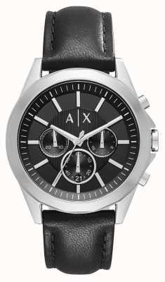 Armani Exchange Chronographe noir en cuir pour homme AX2604