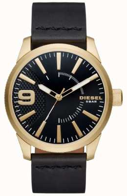 Diesel Mens râpe noir et cuir d'or tonique DZ1801
