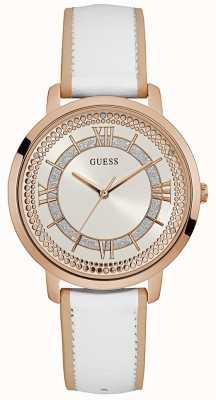 Guess Womens montauk bracelet en cuir blanc cadran argenté W0934L1