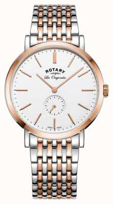 Rotary Hommes windsor deux tons cadran blanc GB90191/01