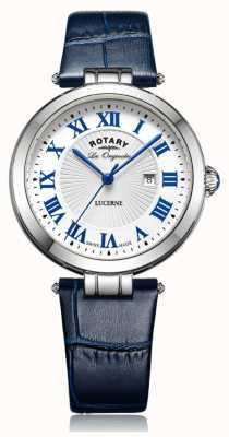 Rotary Womens bracelet en cuir bleu cadran blanc lucerne LS90197/01L