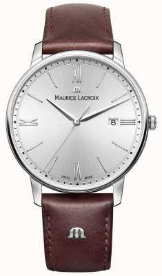 Maurice Lacroix cuir brun cadran bracelet en argent de Mens EL1118-SS001-110-1