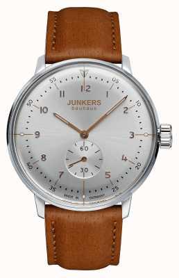 Junkers cuir brun cadran bracelet en argent Mens bauhaus 6030-5
