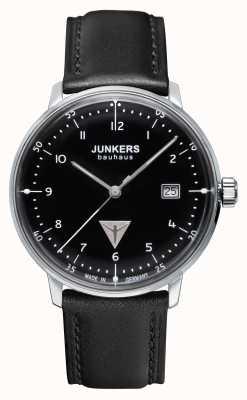 Junkers Mens bracelet en cuir noir bauhaus cadran noir 6046-2