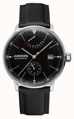Junkers Mens bracelet en cuir noir cadran noir bauhaus automatique 6060-2