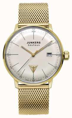 Junkers Mens ton bauhaus or maille d'acier inoxydable cadran beige 6072M-5