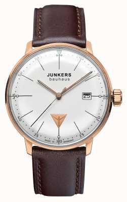 Junkers Bracelet en cuir marron pour homme bauhaus cadran argenté 6074-1