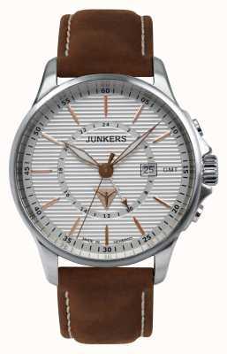 Junkers Mens tante ju cuir brun cadran bracelet en argent 6842-4