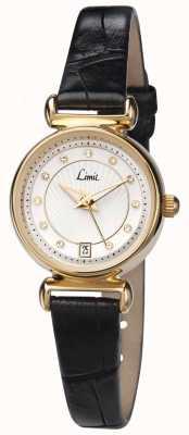 Limit Bracelet en cuir noir pour femmes cadran blanc 6948.01
