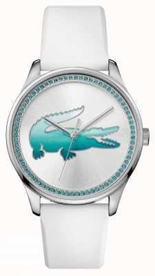 Lacoste Montre en cristal bleu en caoutchouc blanc Womans 2000971