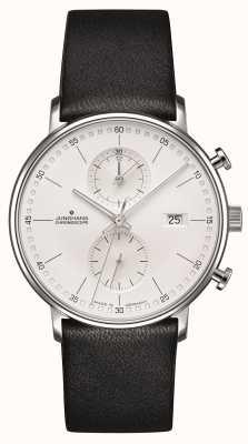 Junghans Bracelet en cuir de veau chronoscope Form C noir 041/4770.00
