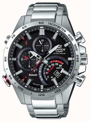 Casio Edifice bluetooth mens black dial rouge accents EQB-501XD-1AER
