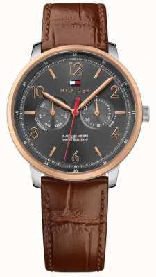 Tommy Hilfiger Les hommes vont marron bracelet en cuir gris 1791357