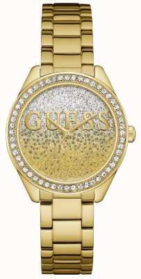 Guess Femme glitter fille acier doré W0987L2