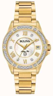 Bulova Womans marine étoile diamant doré 98R235