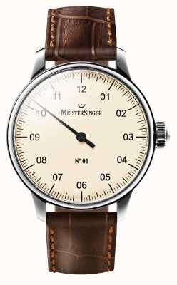 MeisterSinger Bracelet à bracelet en cuir marron mécanique no 01 pour homme AM3303