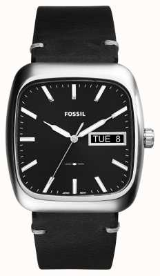 Fossil Cuir noir homme rutherford FS5330