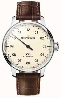 MeisterSinger Hommes classiques no. 3 ivoire automatique AM903