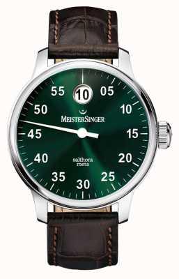 MeisterSinger Mens classic plus salthora méta auto Sunburst vert SAM909