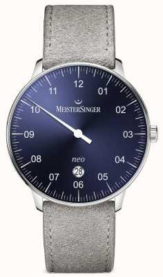 MeisterSinger Forme mensuelle et style néo plus automatique sunburst bleu NE408