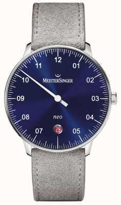 MeisterSinger Forme mensuelle et style néo automatique sunburst blue NE908N