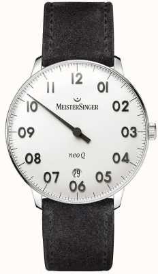 MeisterSinger Forme mensuelle et style neo q en acier inoxydable et suède noir NQ901N