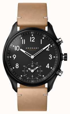 Kronaby 43mm apex bluetooth noir pvd cas / cuir beige smartwatch A1000-0730
