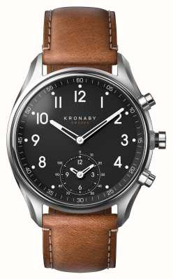 Kronaby 43mm apex bluetooth cuir marron smartwatch A1000-0729