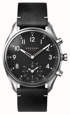Kronaby 43mm apex bluetooth bracelet en cuir noir smartwatch A1000-1399