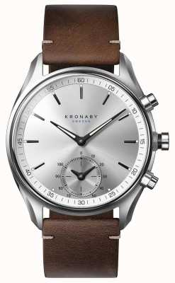 Kronaby 43mm sekel bluetooth cuir marron foncé smartwatch A1000-0714