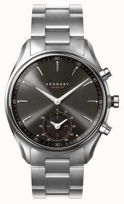 Kronaby 43mm sekel cadran noir bluetooth en acier inoxydable a1000-0720 S0720/1
