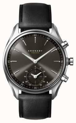 Kronaby 43mm sekel bluetooth cadran noir / bracelet en cuir smartwatch A1000-0718