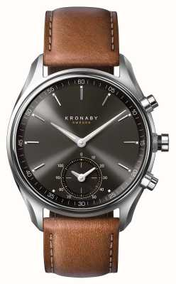 Kronaby 43mm sekel bluetooth cuir marron cadran noir smartwatch A1000-0719
