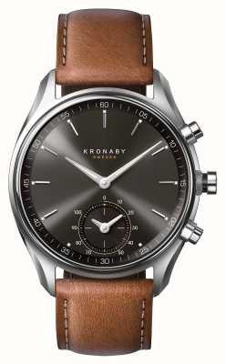Kronaby 43mm sekel bluetooth marron cuir noir cadran a1000-0719 S0719/1