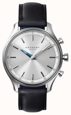 Kronaby 38mm sekel bluetooth bracelet en cuir noir smartwatch A1000-0657