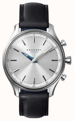 Kronaby Bracelet en cuir noir 38mm sekel bluetooth a1000-0657 S0657/1