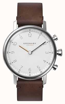 Kronaby Bracelet en cuir brun noir bluetooth 38mm a1000-0711 S0711/1