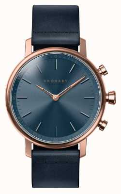 Kronaby 38mm carat bluetooth rose or cuir bleu smartwatch A1000-0669