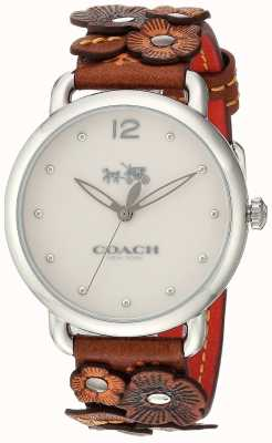 Coach Womans delancey regarder brune bracelet en cuir fleur 14502744
