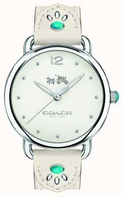 Coach Womans delancey montre bracelet en cuir blanc pierres turquoises 14502702