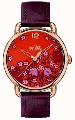 Coach Womans delancey montre bracelet en cuir bordeaux cadran à motifs 14502730