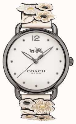Coach Womans delancey montre bracelet en cuir fleur blanche 14502746