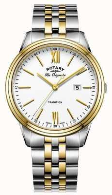 Rotary La tradition masculine suisse a fait un bracelet en métal à deux tons GB90195/01