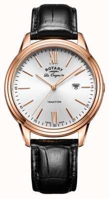 Rotary La tradition masculine suisse a fait du pvd rose bracelet en cuir doré GS90196/01