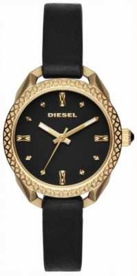 Diesel Ladies shawty noir et montre en or DZ5547