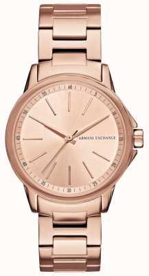Armani Exchange Lady banks rose gold plaqué montre AX4347