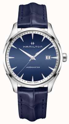 Hamilton Hommes jazzmaster cuir quartz bleu H32451641