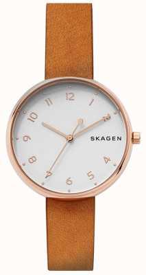 Skagen Womens signatur bronzage en cuir rose or SKW2624
