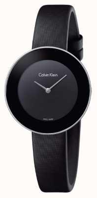 Calvin Klein Bracelet en cuir noir chic pour femme cadran noir K7N23CB1