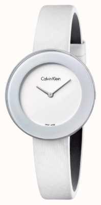 Calvin Klein Bracelet en cuir blanc élégant Womans cadran blanc K7N23TK2
